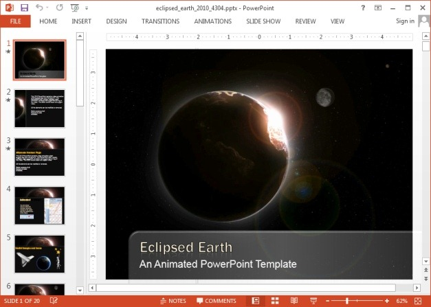 Animated earth eclipse template for PowerPoint